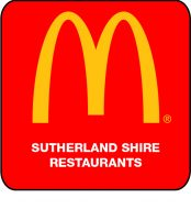 Sutherland Maccas Logo - on red bg